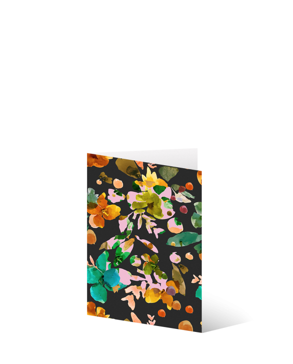 4 x Small Dark Floral Greetings Card