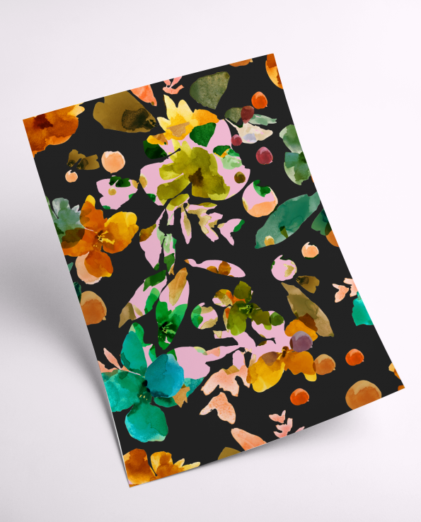 A4 Dark Florals Print